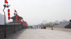 ancient wall of xi'an city in china - stock footage