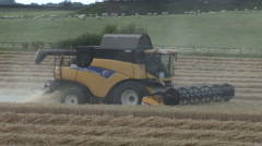 New Holland combine harvester at work on wheat. Stock Footage