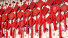 Chinese gifts and crafts at a temple Stock Footage