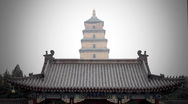 Temple Big Wild Goose Pagoda in Xian  Stock Footage