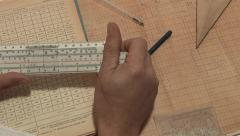 engineering calculations on the slide rule - stock footage