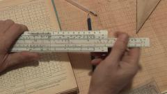 Engineering calculations on the slide rule Stock Footage