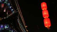 Lantern of xi'an city wall china Stock Footage