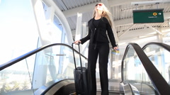 Girl at the airport Stock Footage