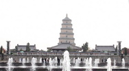 Stock Video Footage of Big Wild Goose Pagoda Fountains Square, in Xian