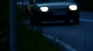 Car on the road at night time lapse Stock Footage