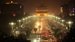 traffic  in downtown area, xi'an china - stock footage
