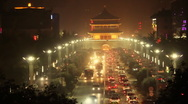 Stock Video Footage of traffic  in downtown area, xi'an china