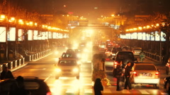 Traffic  in downtown area, xi'an china Stock Footage