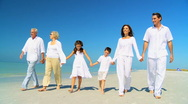 Three Generations of Family Walking on the Beach Stock Footage