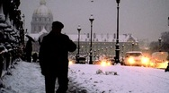 Paris invalides covered in snow Stock Footage