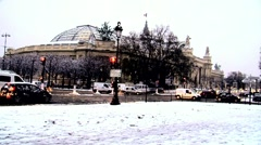Paris grand-palais covered in snow Stock Footage