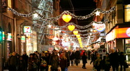 Street decorated with christmaslight Stock Footage