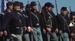 American Civil War infantry advances to battle Stock Footage