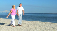 Contented Seniors Walking the Beach  Stock Footage