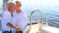 Seniors Sailing Their Luxury Yacht Stock Footage