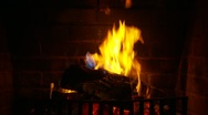 Stock Video Footage of Logs burning in a fireplace
