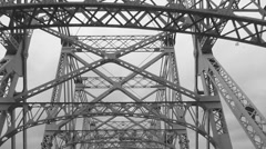 Driving Across Queensborough Bridge-- Black and White Stock Video Stock Footage
