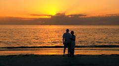 Loving Senior Couple at Sunset Stock Footage