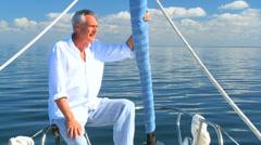 Retired Male Aboard Luxury Yacht Stock Footage