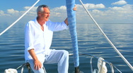 Stock Video Footage of Retired Male Aboard Luxury Yacht