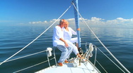 Stock Video Footage of Seniors Sailing Their Luxury Yacht