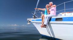 Stock Video Footage of Sailing Seniors on Luxury Yacht