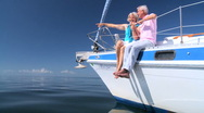 Sailing Seniors on Luxury Yacht Stock Footage