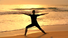 Yoga Girl at Sunrise Stock Footage