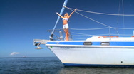Luxury Yacht Girl Stock Footage