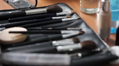 Makeup brushes Stock Footage