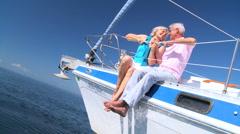 Affectionate Senior Couple on Luxury Yacht - stock footage