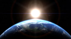 Sunrise in Space with Stars - stock footage