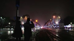 Paris champs élysées-elysees covered in snow Stock Footage
