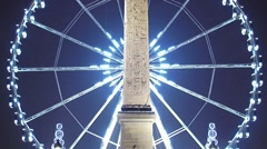 Paris by night at concorde square covered in snow Stock Footage