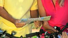 Seniors Cycling Trip Stock Footage