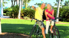 Fit & Healthy Cycling Seniors Stock Footage