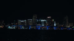 Miami skyline at night Stock Footage