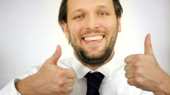 Businessman showing thumbs up, ok sign  Stock Footage