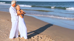Seniors Beach Vacation Fun Stock Footage