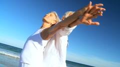 Seniors Beach Fun - stock footage