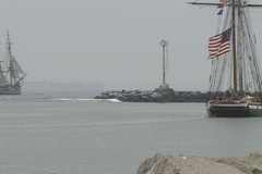 3 tall ships zoom out 1 Stock Footage