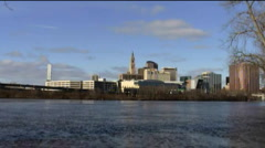 Hartford, Ct. Skyline and Ct. River - stock footage
