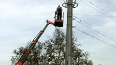 Powerline Workers Stock Footage