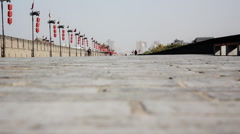 Ancient wall of xi'an city in china Stock Footage
