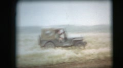 Vintage 8mm film, military, army truck convoy Stock Footage