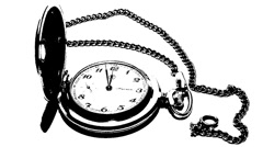 Pocket watch with a chain on a white background Stock Footage