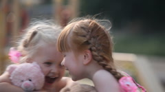 Two little girls - stock footage