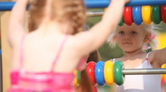 Playing with abacus  Stock Footage