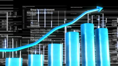 Growing chart with moving financial  graphics background  Stock Footage